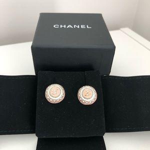 Chanel Round Enamel Stud Earrings
